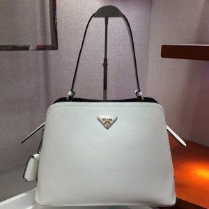 Replica Prada 1BA249 Matinee handbags White Saffiano leather