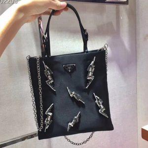 Replica Prada 1BA252 handbags Black Nylon with Crystal