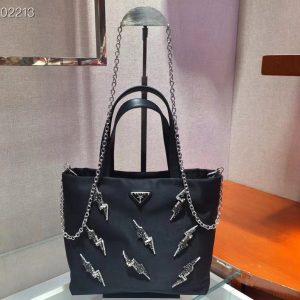 Replica Prada 1BA257 handbags Black Nylon with Crystal