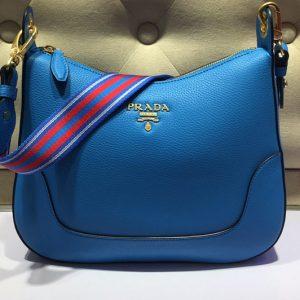Replica Prada 1BC052 Web Stripe Strap Crossbody Bags Blue Vitello Leather