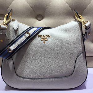 Replica Prada 1BC052 Web Stripe Strap Crossbody Bags White Vitello Leather