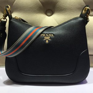 Replica Prada 1BC052 Web Stripe Strap Crossbody Bags Black Vitello Leather