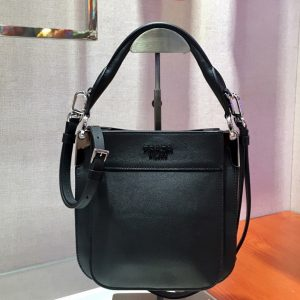 Replica Prada 1BC082 Margit Small leather bags Black Calf leather
