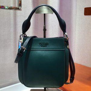 Replica Prada 1BC082 Margit Small leather bags Green Calf leather