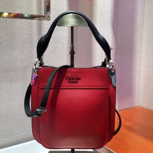 Replica Prada 1BC082 Margit Small leather bags Red Calf leather