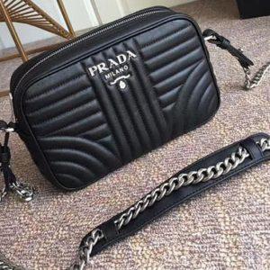 Replica Prada 1BD083 Camera Bags Black Calf Leather