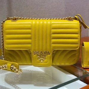 Replica Prada 1BD108 Diagramme medium leather bags Yellow Stitched leather