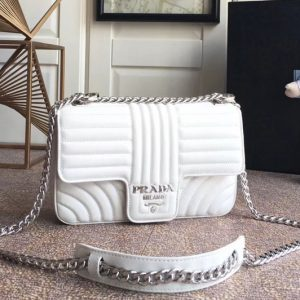 Replica Prada 1BD108 Diagramme medium leather bags White Stitched leather