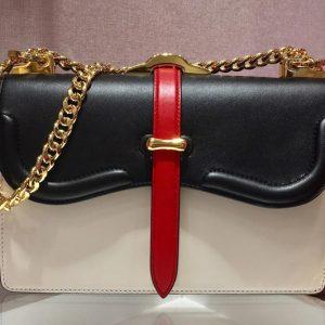 Replica Prada 1BD188 Belle leather shoulder bags Black/White Calf Leather