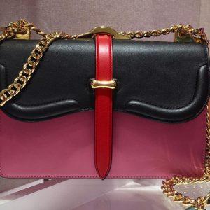 Replica Prada 1BD188 Belle leather shoulder bags Black/Pink Calf Leather