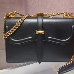 Replica Prada 1BD188 Belle leather shoulder bags Black Calf Leather