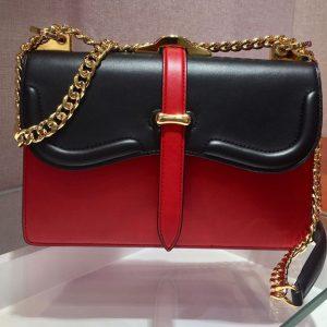 Replica Prada 1BD188 Belle leather shoulder bags Black/Red Calf Leather