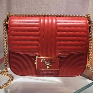 Replica Prada 1BD217 Diagramme leather shoulder bags Red Calf leather