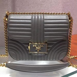 Replica Prada 1BD217 Diagramme leather shoulder bags Gray Calf leather