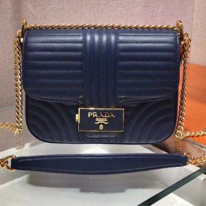 Replica Prada 1BD217 Diagramme leather shoulder bags Blue Calf leather