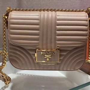 Replica Prada 1BD217 Diagramme leather shoulder bags Pink Calf leather