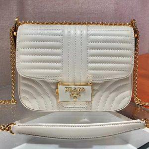 Replica Prada 1BD217 Diagramme leather shoulder bags White Calf leather