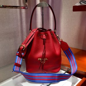 Replica Prada 1BE018 Leather bucket bags Red Calf leather