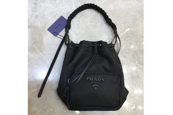 Replica Prada 1BH038 Bucket Shoulder Bag In Black Nylon