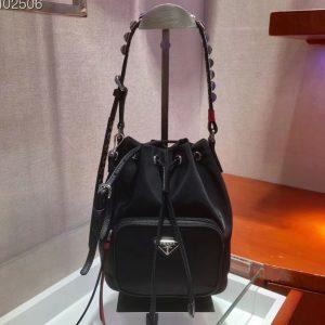 Replica Prada 1BH038 Nylon shoulder bags Black/Red Nylon