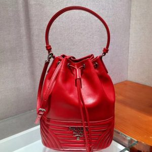 Replica Prada 1BH038 Duet leather shoulder bags Red Calf leather