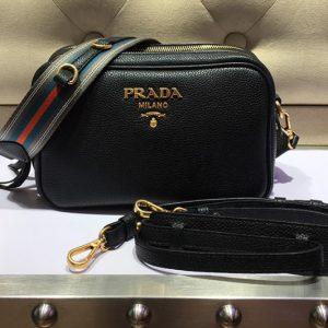 Replica Prada 1BH082 Leather shoulder bags Black Calf leather