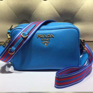 Replica Prada 1BH082 Leather shoulder bags Blue Calf leather