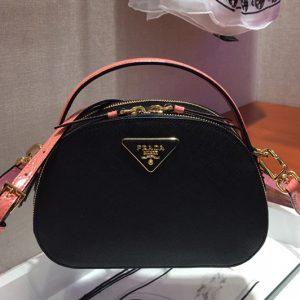 Replica Prada 1BH123 Odette Saffiano leather bags Black/Pink Saffiano leather
