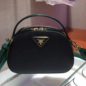 Replica Prada 1BH123 Odette Saffiano leather bags Black/Green Saffiano leather