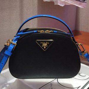 Replica Prada 1BH123 Odette Saffiano leather bags Black/Blue Saffiano leather