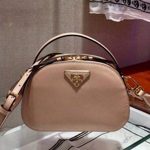 Replica Prada 1BH123 Odette Saffiano leather bags Pink Saffiano leather