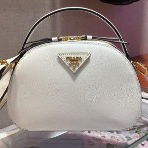Replica Prada 1BH123 Odette Saffiano leather bags White Saffiano leather