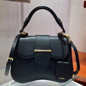Replica Prada 1BN005 Medium Sidonie Bags Black Saffiano leather
