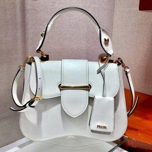 Replica Prada 1BN005 Medium Sidonie Bags White Saffiano leather