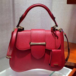 Replica Prada 1BN005 Medium Sidonie Bags Red Saffiano leather