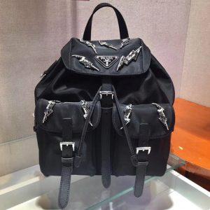 Replica Prada 1BZ006 Nylon Backpack Black Nylon With Crystal