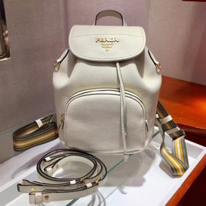 Replica Prada 1BZ035 Leather backpack White Calf leather