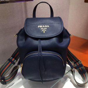 Replica Prada 1BZ035 Leather backpack Blue Calf leather
