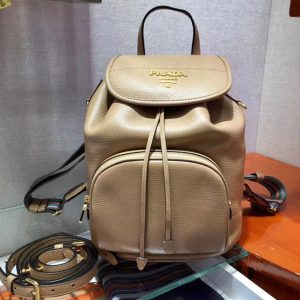 Replica Prada 1BZ035 Leather backpack Caramel Calf leather