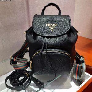 Replica Prada 1BZ035 Leather backpack Black Calf leather