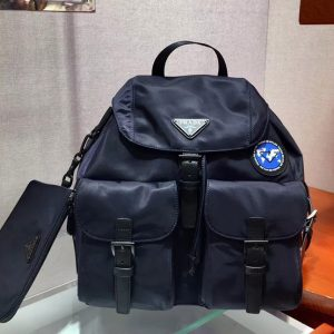 Replica Prada 1BZ811 Re-Nylon backpack Blue Re-Nylon
