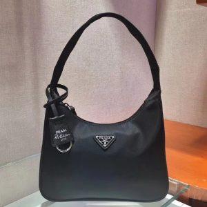 Replica Prada 1N1416 Re-Edition 2000 nylon and Saffiano leather mini-bags Black Re-Nylon