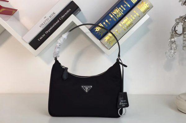 Replica Prada 1NE204 Re-Edition 2005 nylon and Saffiano leather mini-bag Black Nylon