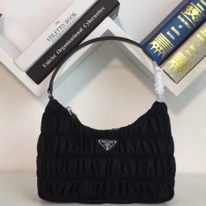 Replica Prada 1NE204 Nylon and Saffiano leather mini bag Black Nylon