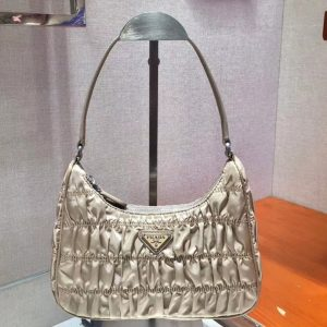 Replica Prada 1NE204 Nylon and Saffiano leather mini bags Beige Nylon