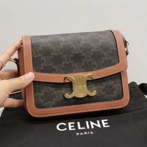 Replica Celine 18888 TEEN TRIOMPHE BAG IN TRIOMPHE CANVAS AND CALFSKIN
