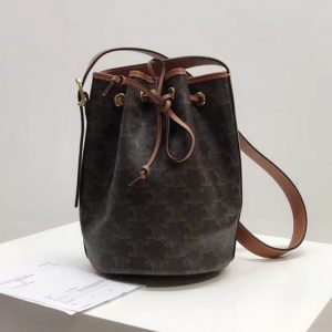 Replica Celine 191142 SMALL DRAWSTRING BAG IN TRIOMPHE CANVAS With Tan Leather