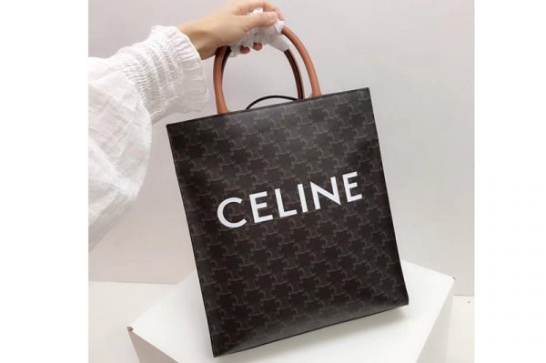 Replica Celine 191542 SMALL CABAS VERTICAL IN TRIOMPHE CANVAS With Tan Leather