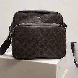 Replica Celine VERTICAL MESSENGER BAG IN TRIOMPHE CANVAS AND CALFSKIN
