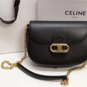 Replica Celine SMALL CRECY BAG IN Black SATINATED CALFSKIN